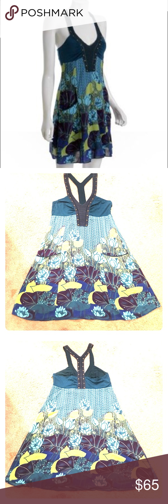 ⚡SALE⚡EUC Free People studded racerback dress Light and airy Free People teal floral print racerback dress. This dress has extra crochet detail with studs and pockets on the front. Side zip size 12. Free People Dresses Midi