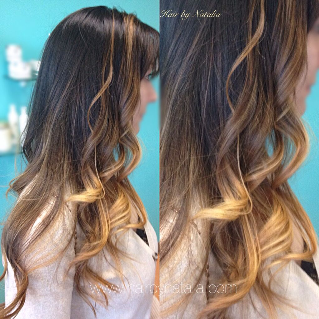 Balayage Ombre With Loose Big Waves For Brunettes Balayage In