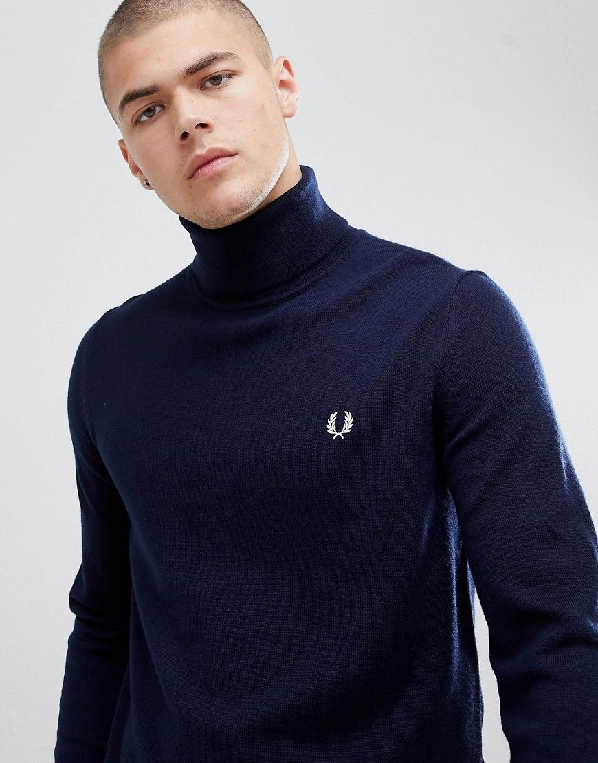 90900434bf0d18 FRED PERRY ROLL NECK MERINO KNITTED SWEATER IN NAVY - NAVY. #fredperry  #cloth