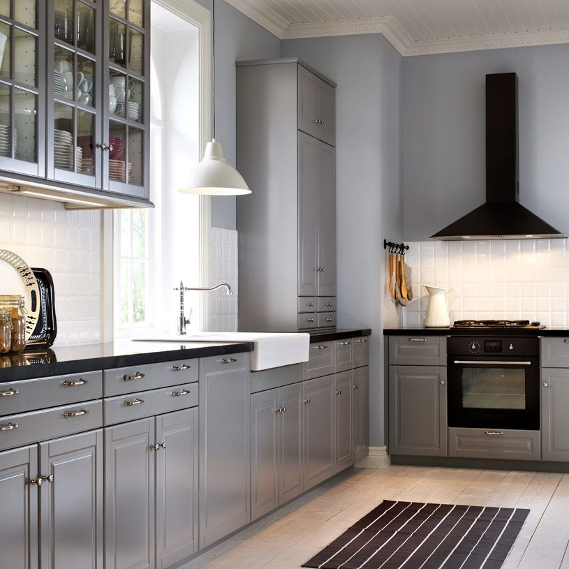 Grey Kitchen Cabinets With Black Appliances: Traditional Grey IKEA Kitchen With Black Worktops And