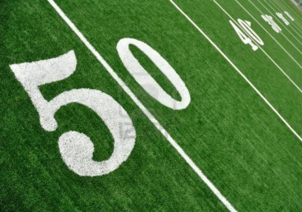 View From Above Of 50 Yard Line On American Football Field With Football Field American Football Football