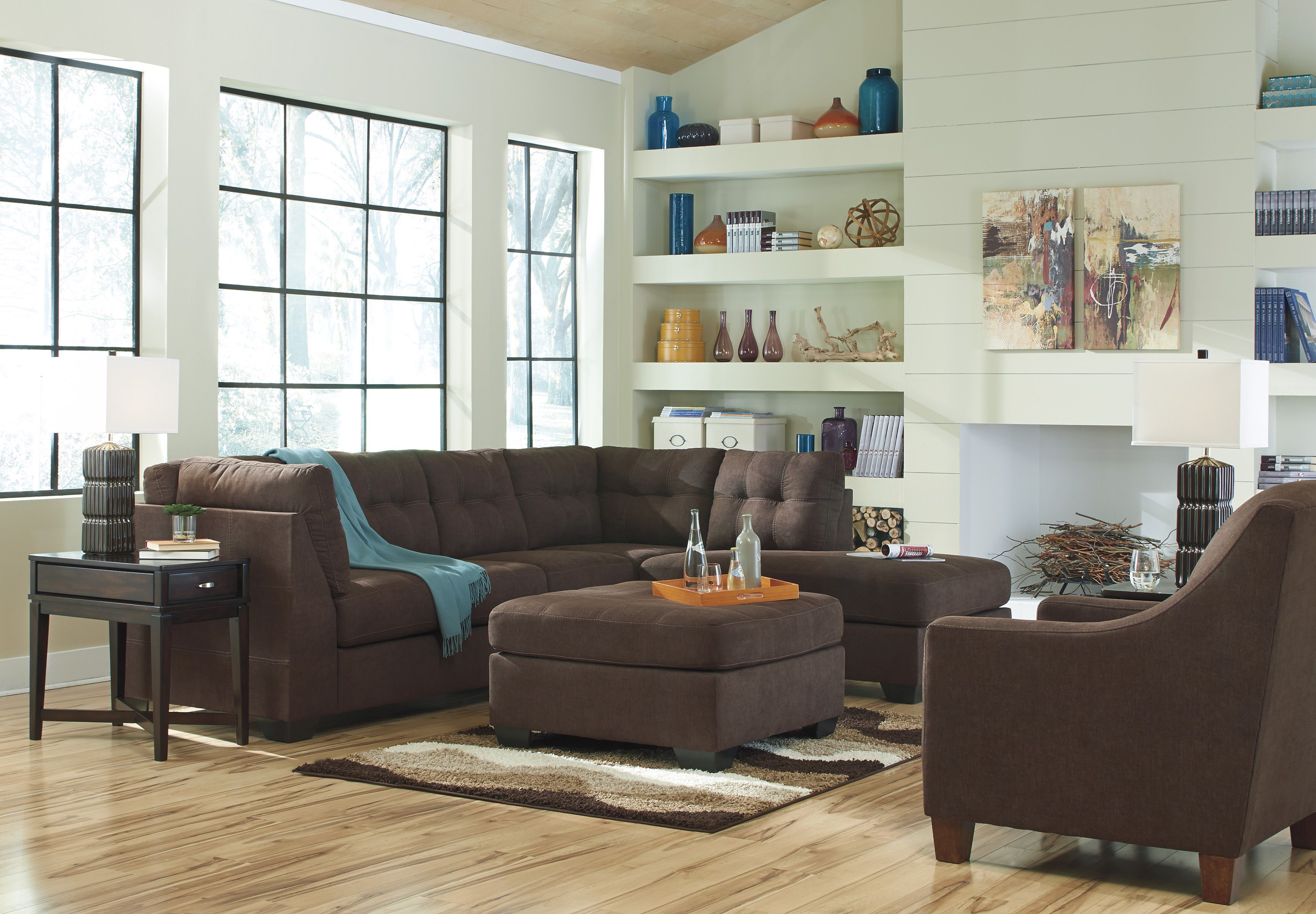 Genial 2 Piece Contemporary Sectional In Brown   Sam Levitz Furniture