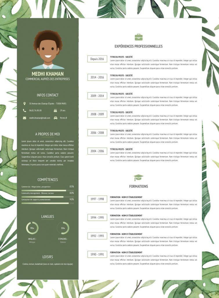 Modèle de CV en ligne design et original. Exemple