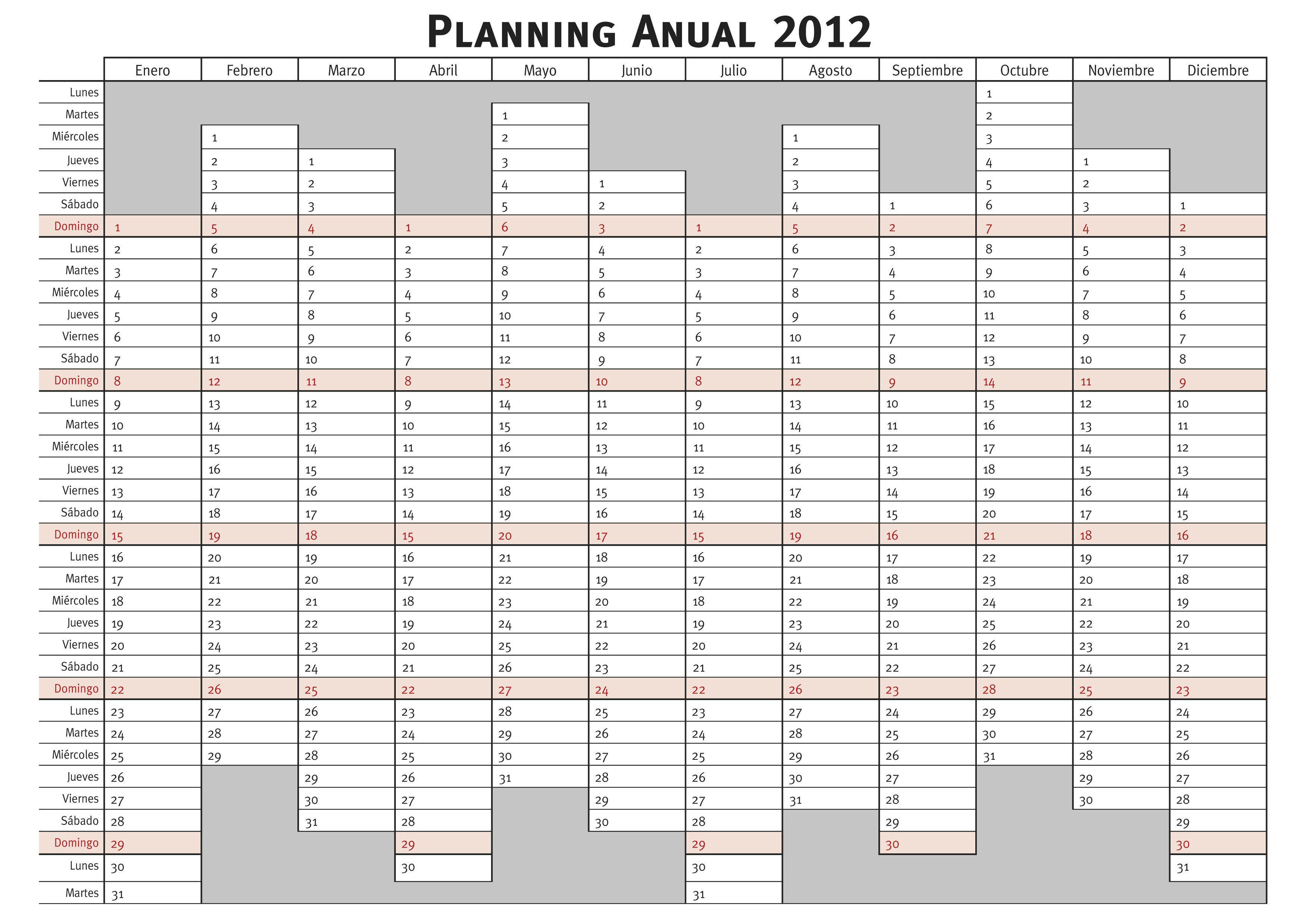 planning anual 2013 para imprimir | iniciales | Pinterest | Organizing