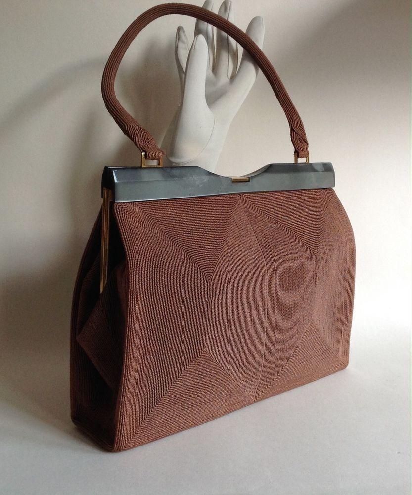Cordé Brown 1940s Vintage Handbag With Satin Lining Slate Lucite Frame Ebay