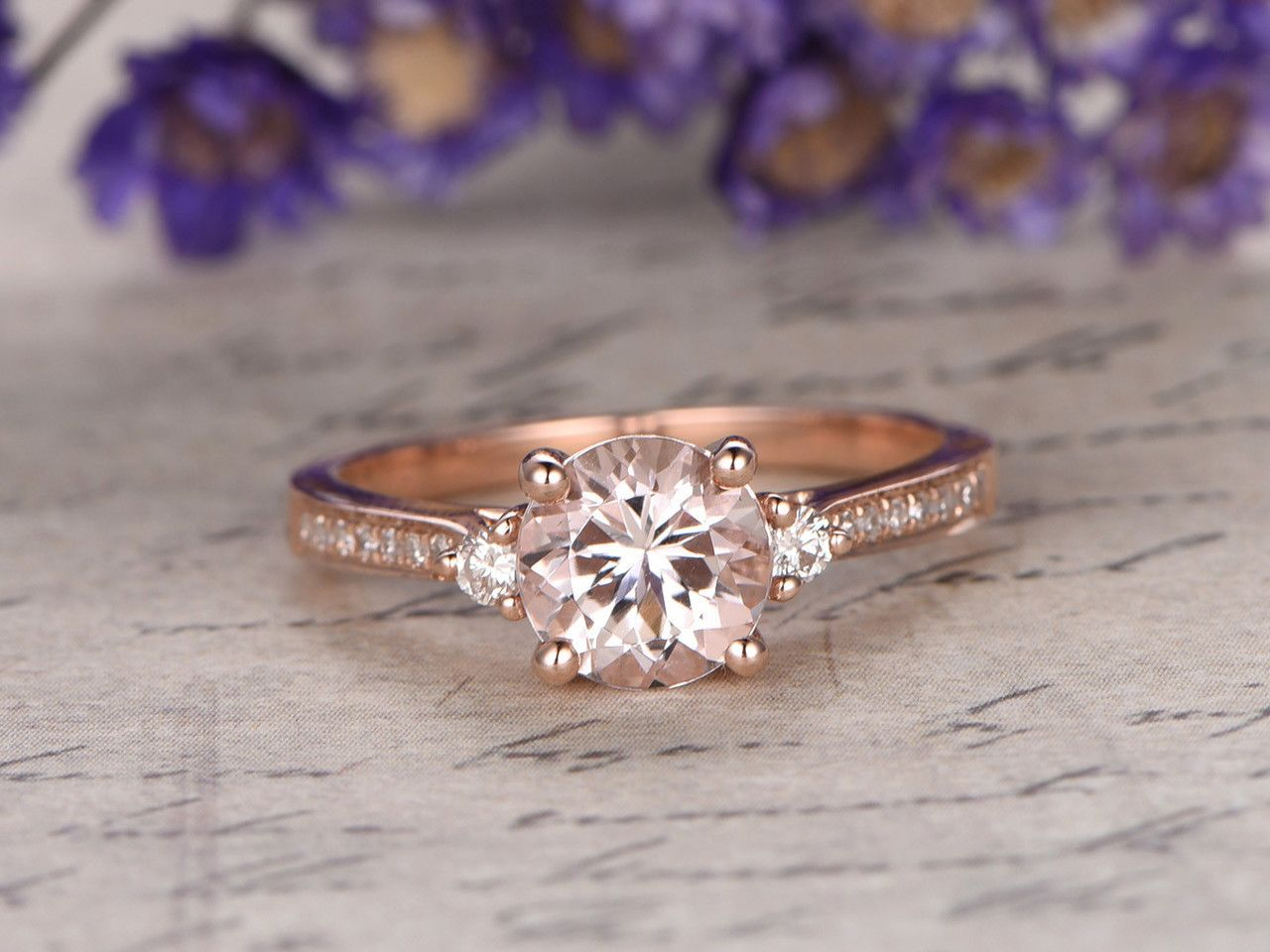 Mm round morganite and diamond engagement ring k rose gold