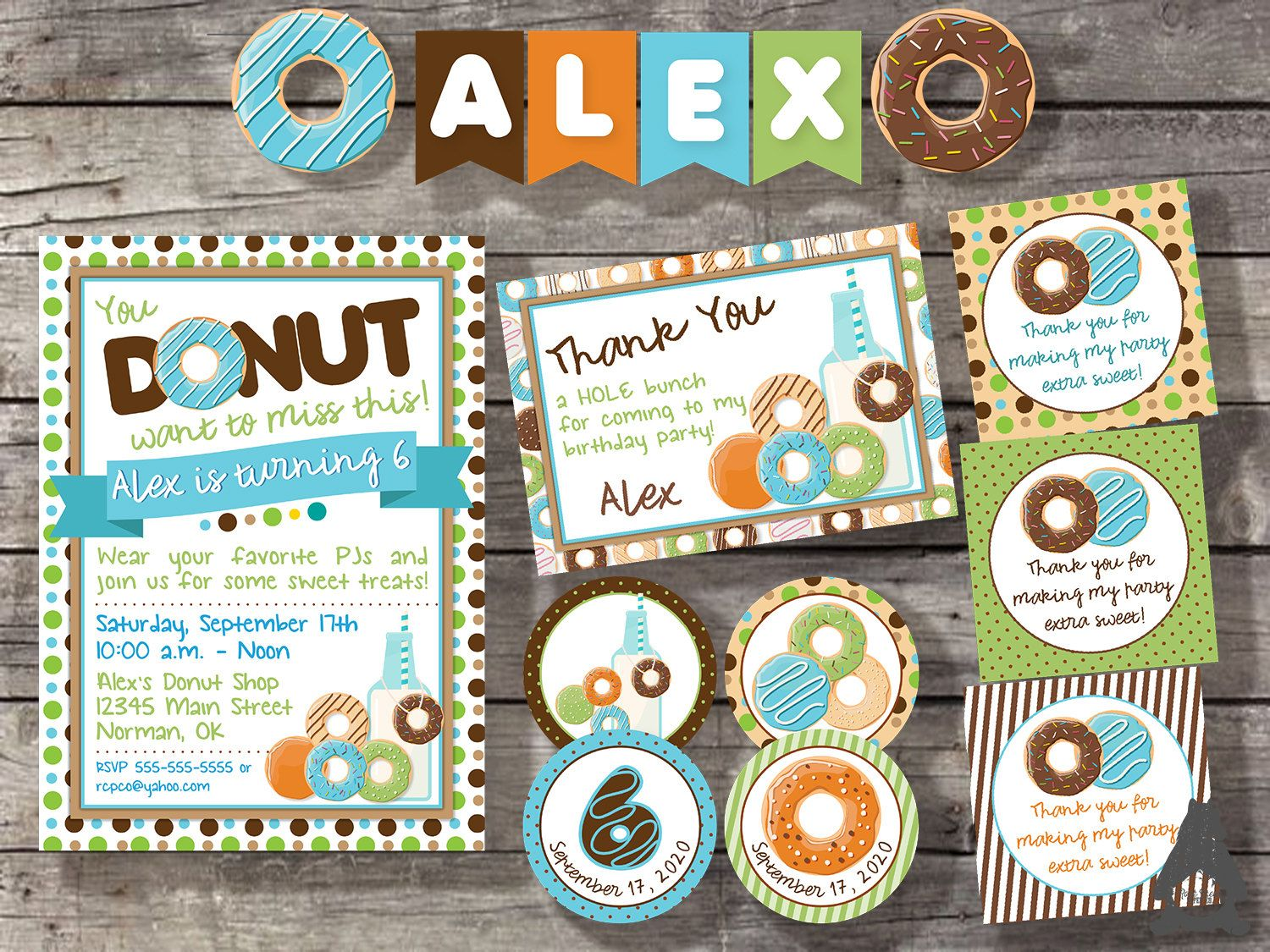 Donut pajama party pack includes invitation thank you cupcake donut pajama party pack includes invitation thank you cupcake toppers hang monicamarmolfo Images