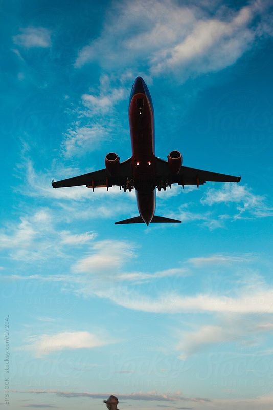 Tiny head looking up at massive airplane in the sky by EPSTOCK #stocksy #realstock