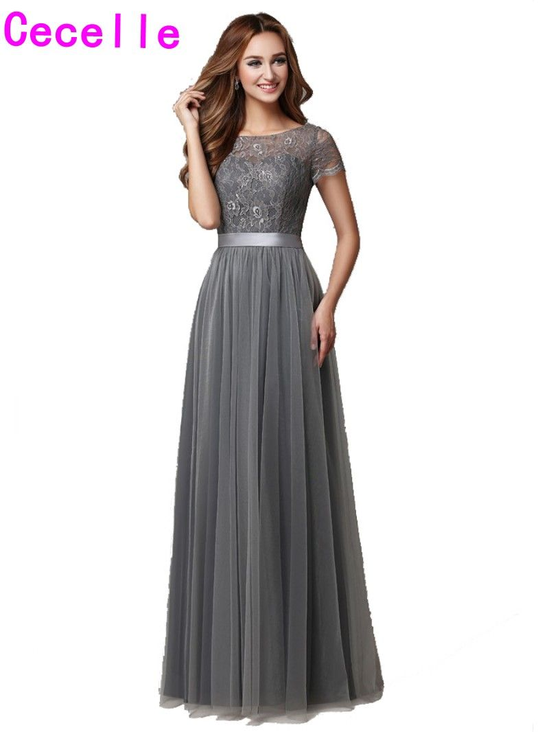 Grey long modest bridesmaid dresses with cap sleeves lace tulle