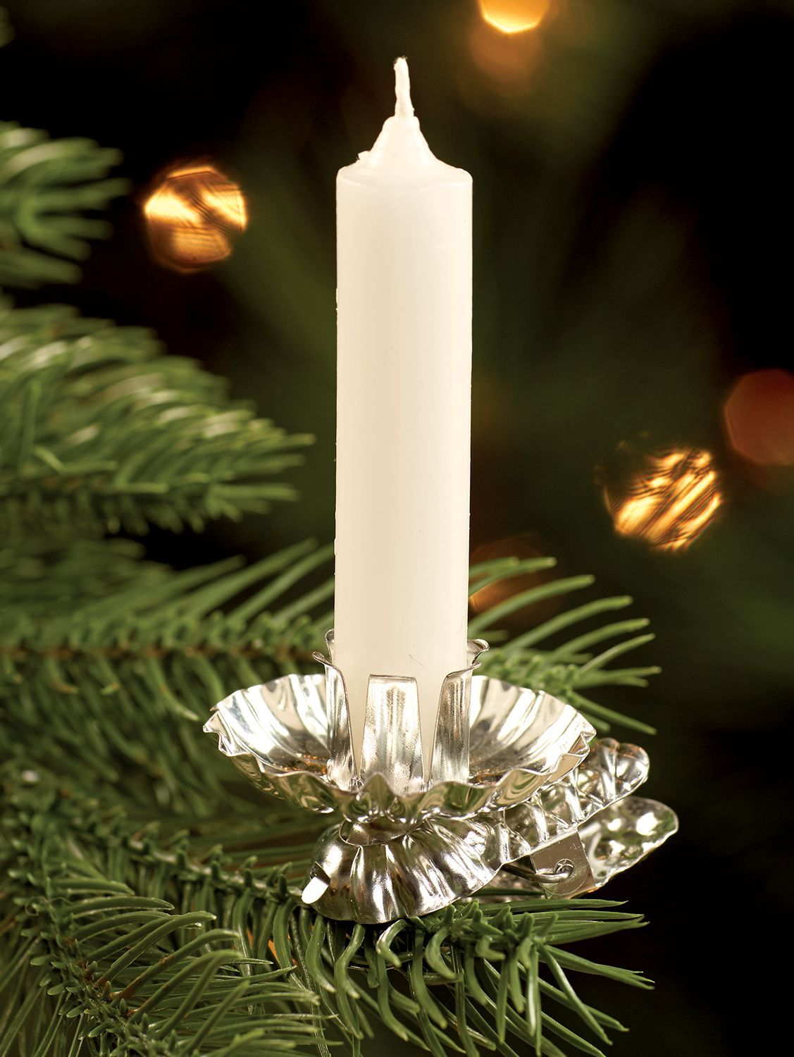Pressed-Tin Christmas Tree Candleholder Clips, Set of 10
