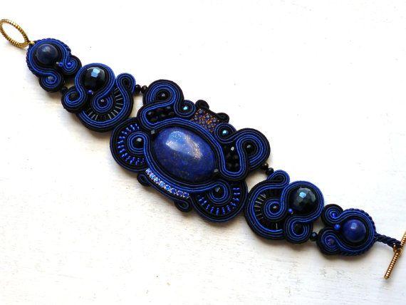 Soutache bracelet with Lapis Lazuli Navy blue by SoutacheForYou