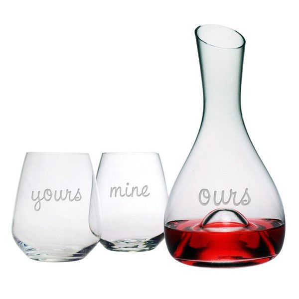 Yours Mine Ours Carafe Stemless Glasses Set Wine Bottle Diy Crafts Wine Decanter Valentines Wine