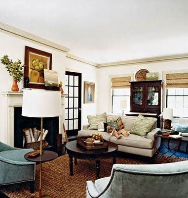 Earthy, subdued living room that appeared in Cottage Living