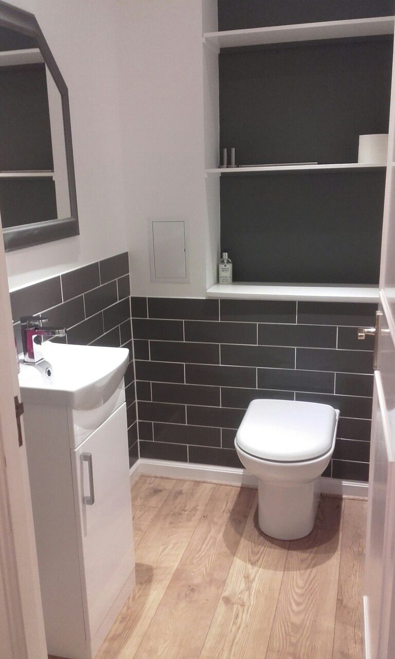 Grey And White Metro Tile Cloakroom Small Toilet Room Grey Metro Tiles Bathroom Cloakroom