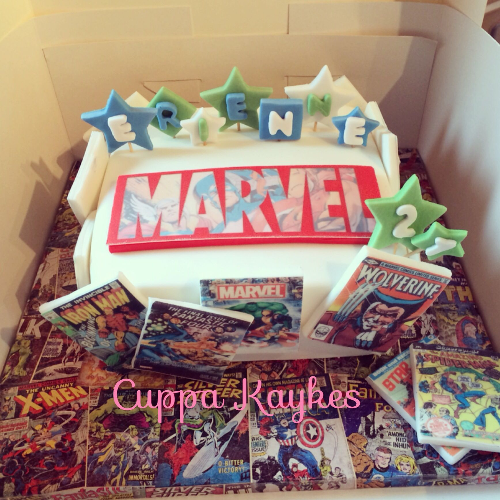 Marvel Comic Book Cake With Images Marvel Cake Cool Cake Designs