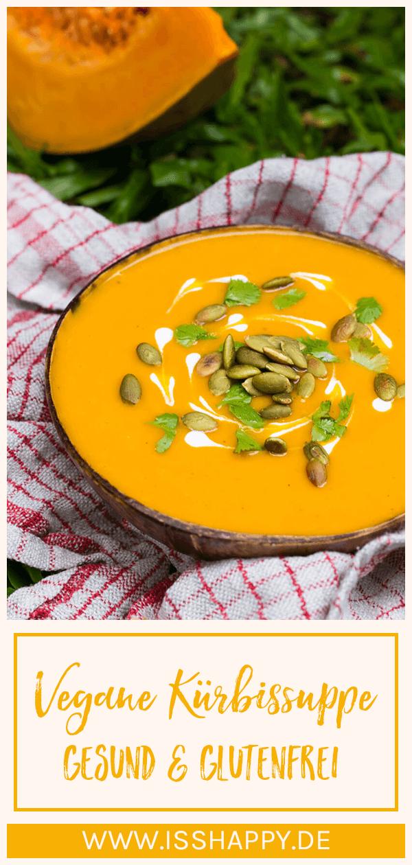 Vegane Kürbissuppe mit Kokosmilch - einfach, gesund & lecker #veganerezeptemittag