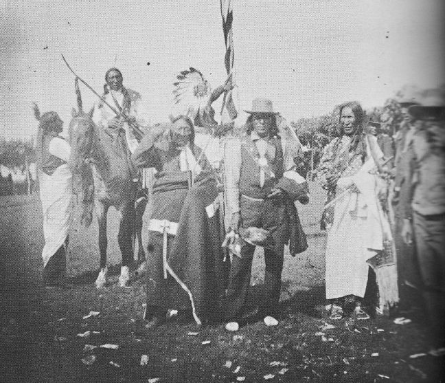"""""""Group of Rosebud Sioux chiefs"""" High Bear is second from left, riding a horse f.l.t.r.: Bear Head, High Bear, Two Strike, Scoop (Stands and Looks Back), Stranger Horse, He Dog, Swift Bear, Louis Roubideaux.  Amertribes.proboards."""