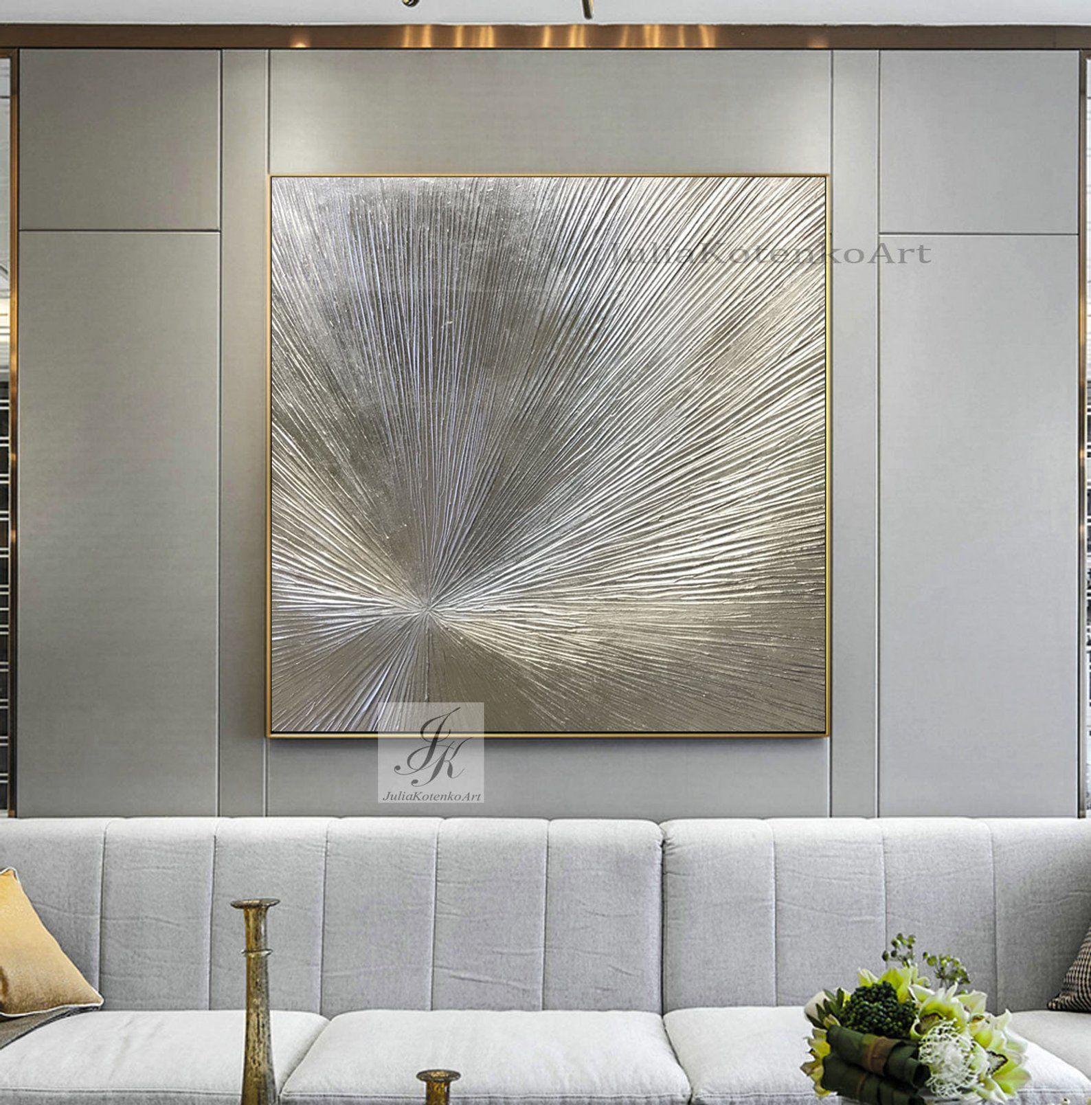 Oversize Silver Painting On Canvas Texture Wall Art Silver Etsy Textured Wall Art Large Wall Art Silver Wall Decor