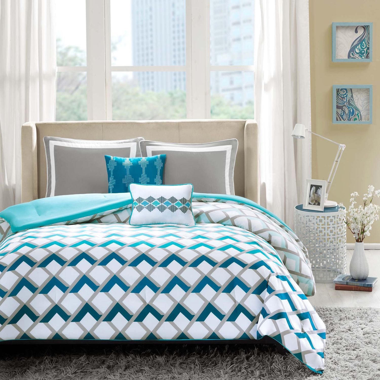 for comforter ombre simple reversible ruched sets queen purple latitude cute girls complete blue set bedding