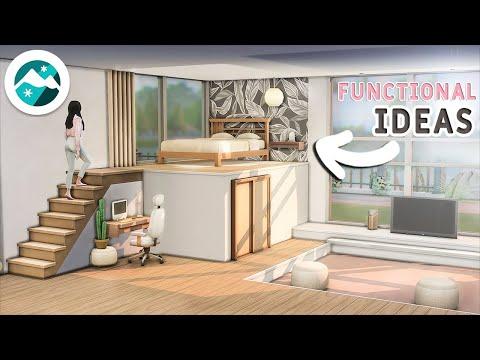 Tutorial 🌸Bedroom Ideas Functional Platforms Snowy Escape & Base Game No CC or Mods