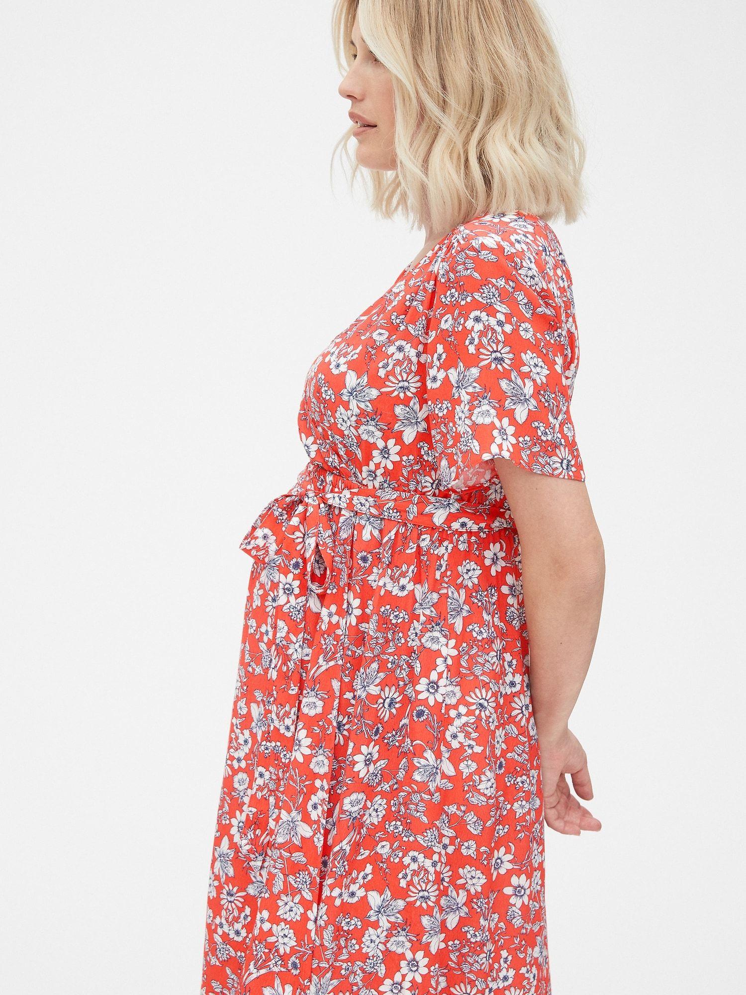 Maternity floral print fauxwrap dress gap dresses