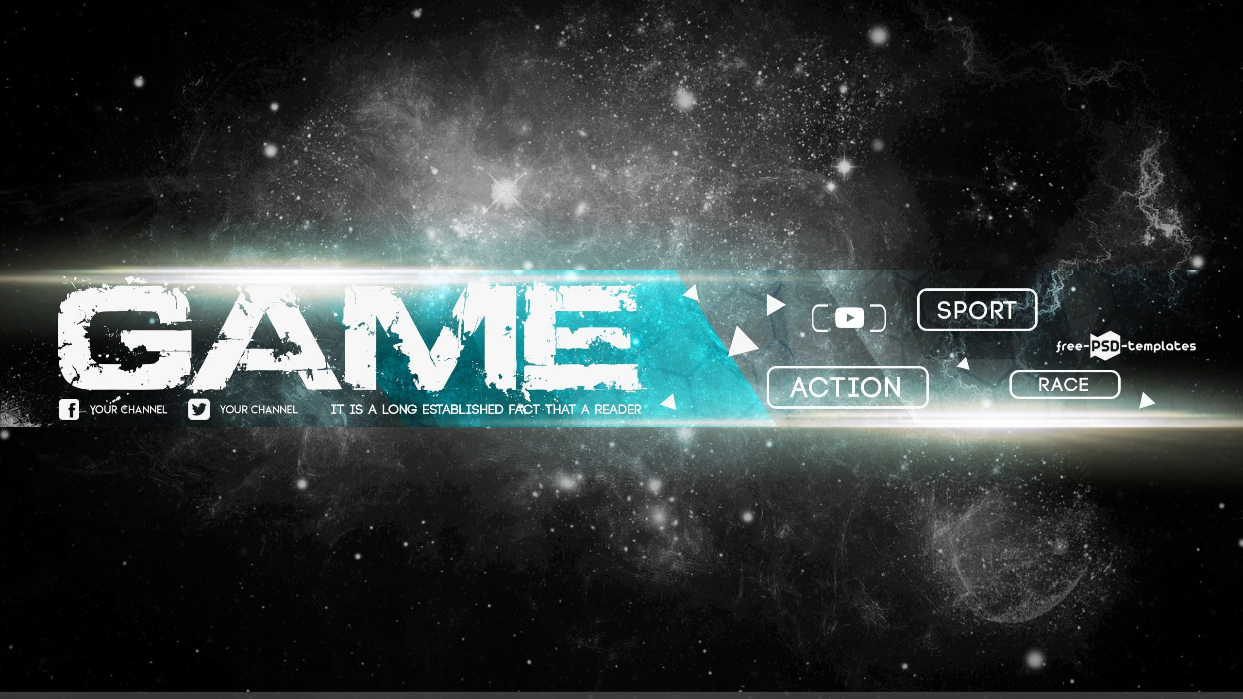 Free Game Youtube Banner Template Free Psd Templates In 2020 Youtube Banner Template Banner Template Psd Template Free