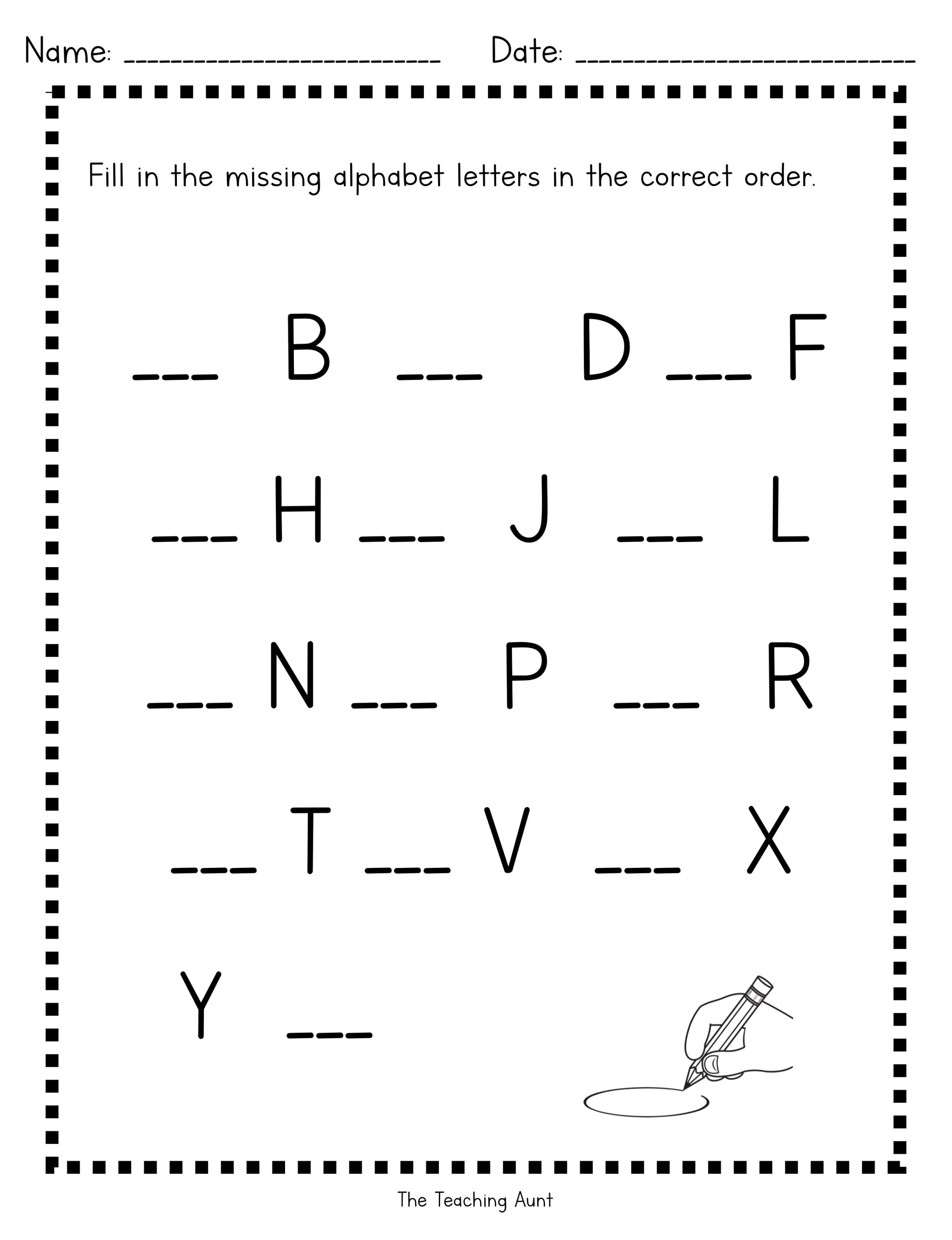 Missing Uppercase Letters Worksheets