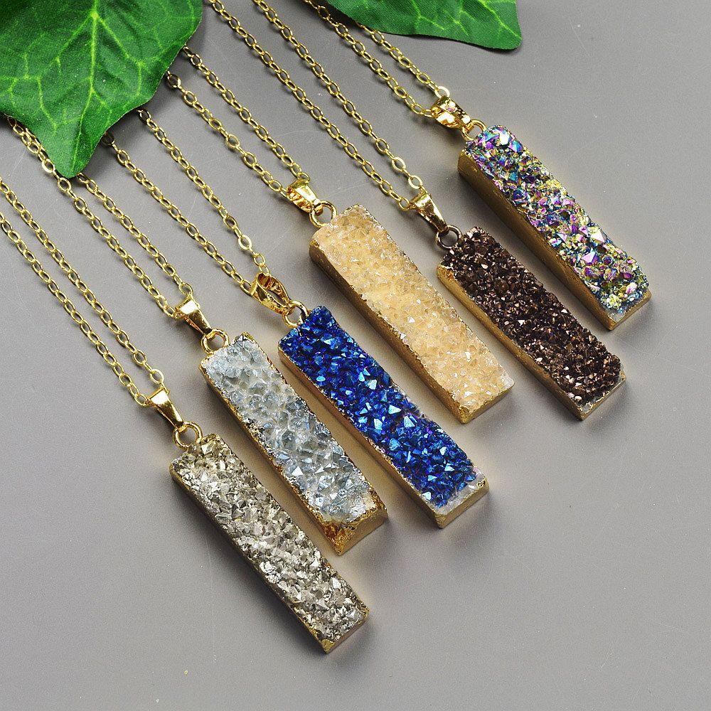 Gold druzy pendant necklace choose your color druzy gold druzy