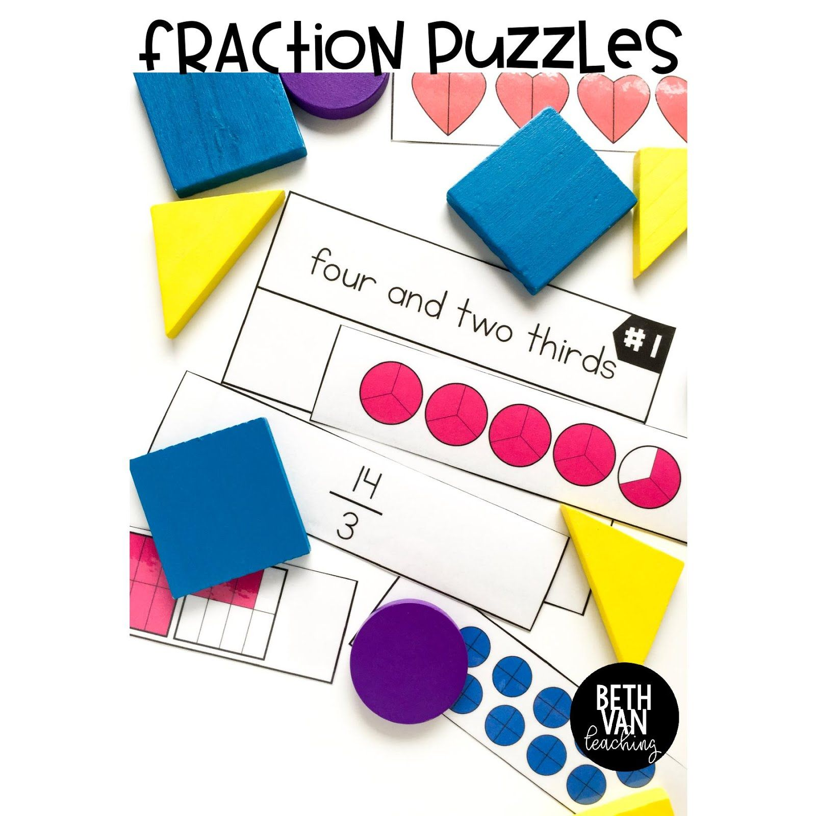 Fraction Puzzle Activity Mixed Numbers Improper