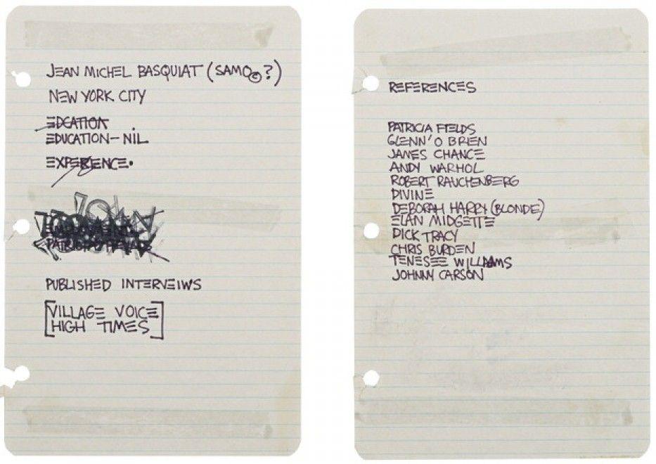Basquiat all\u0027asta un curriculum vitae da 50 mila dollari
