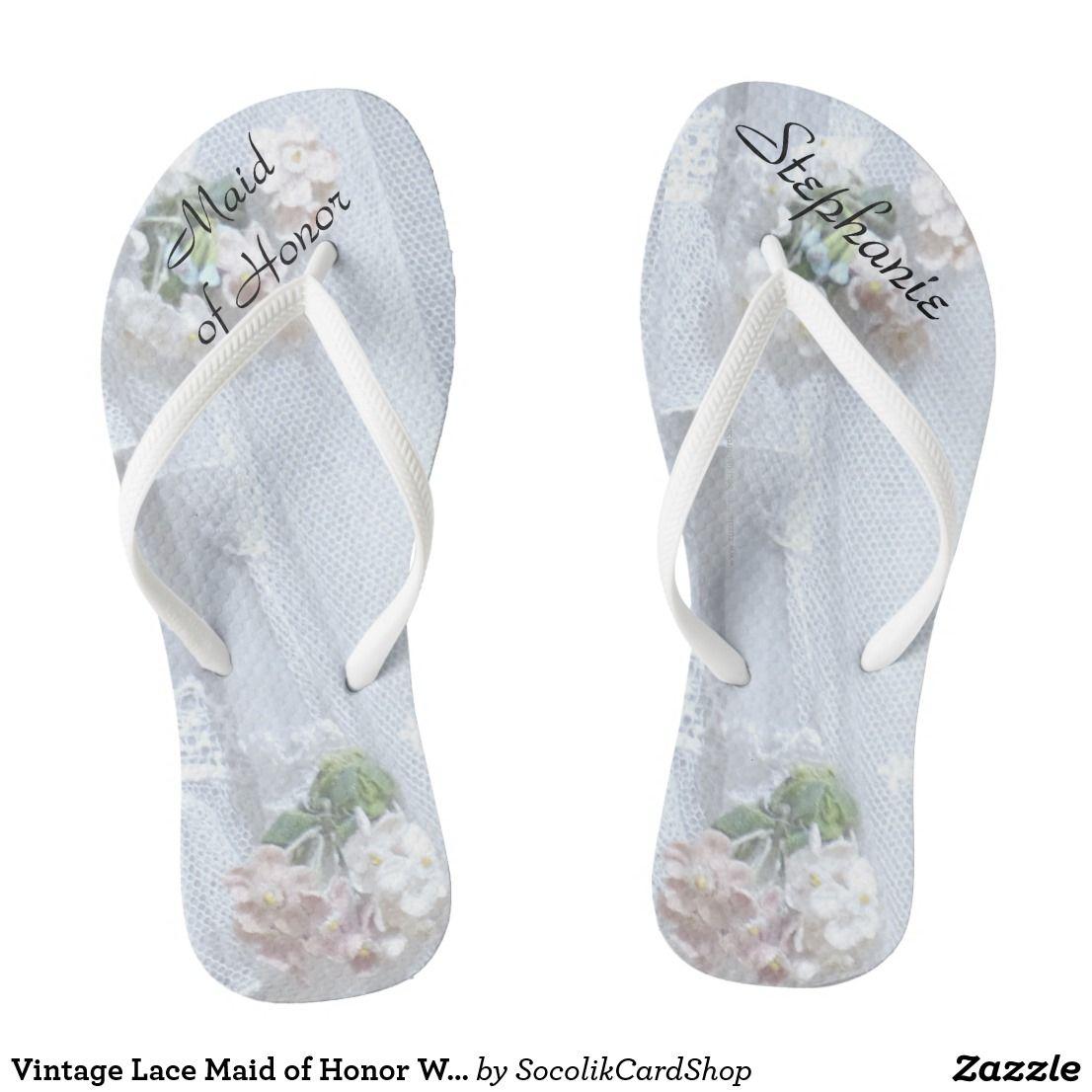 810c06c4bc0da Vintage Lace Maid of Honor Wedding Flip Flops