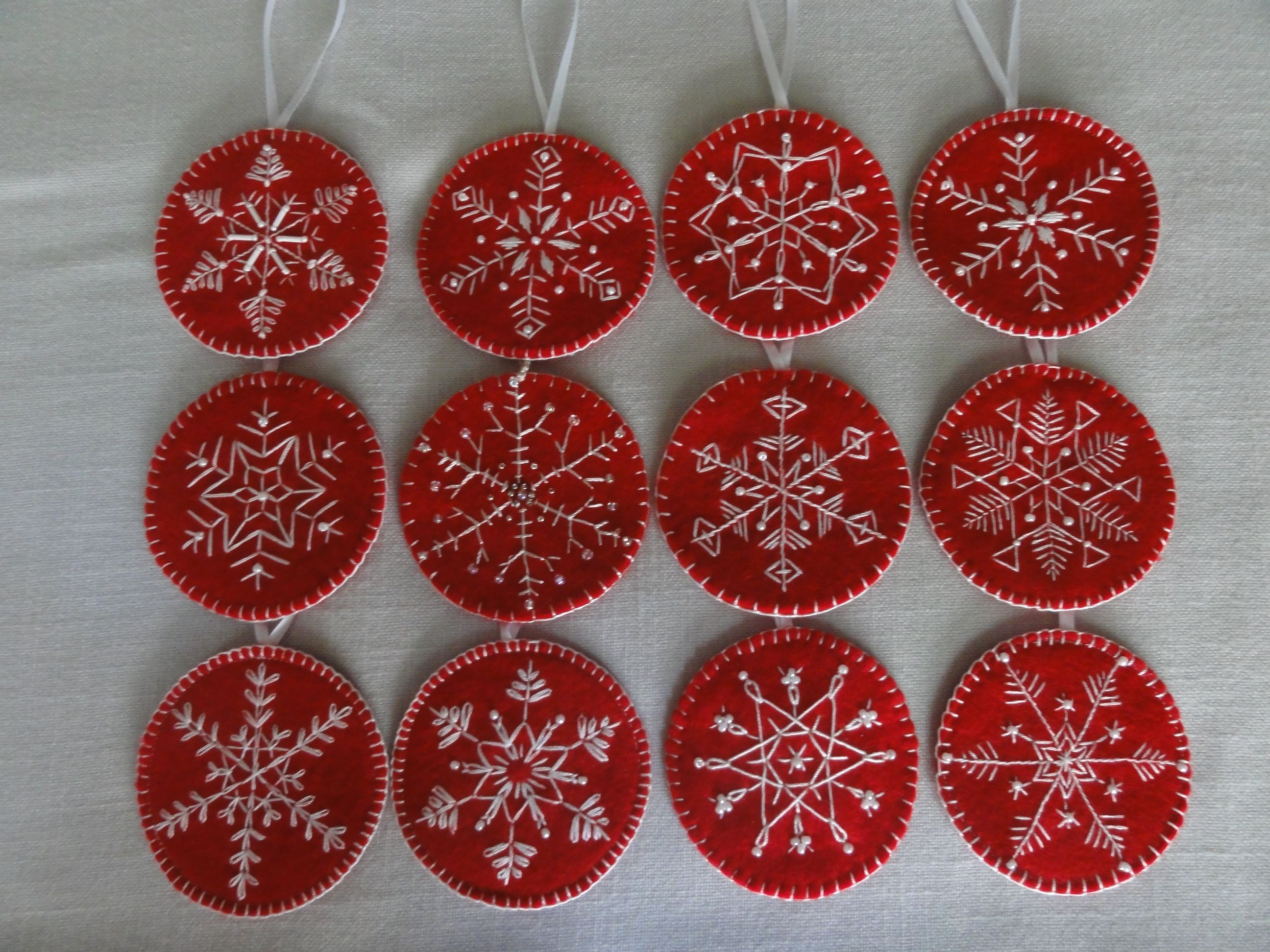 image result for embroidered wool ornaments - Embroidered Christmas Ornaments