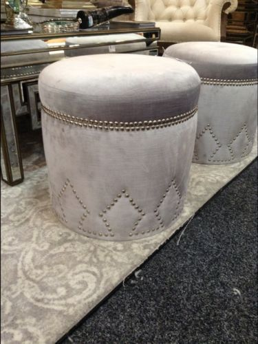NEW Stunning Silver Velvet Storage Studded Ottoman Pouffe Foot Stool BED END | eBay & NEW Stunning Silver Velvet Storage Studded Ottoman Pouffe Foot Stool ...