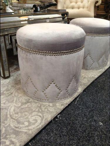 New Stunning Silver Velvet Storage Studded Ottoman Pouffe Foot