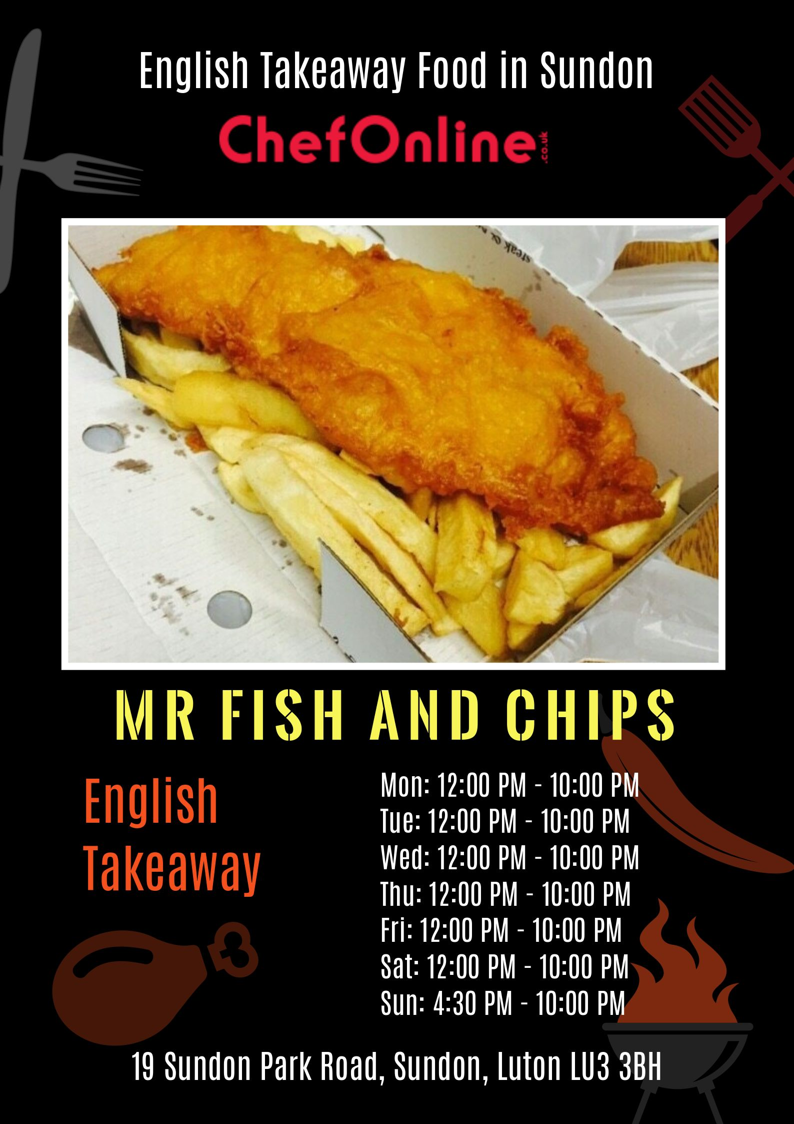 Mr fish and chips is an english takeaway in sundon lu3 3bh