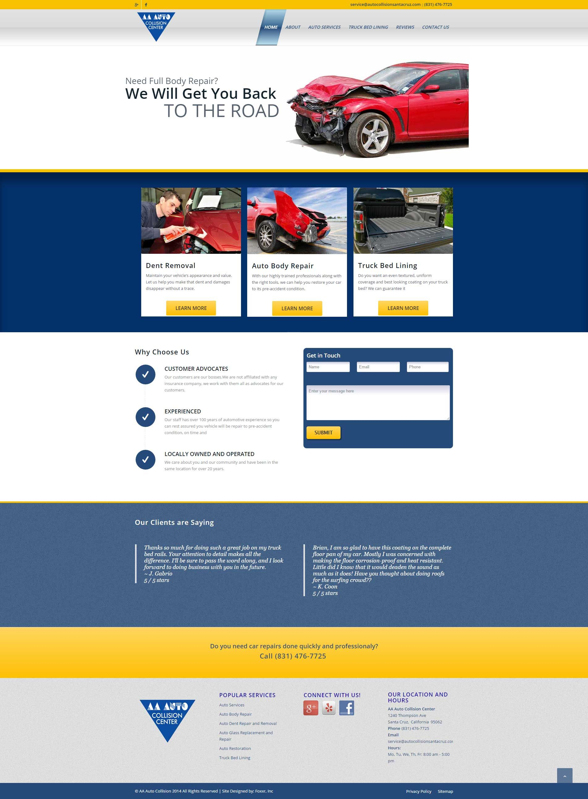 Santa Cruz Ca Web Design Local Seo Aaa Auto Foxxr Small Business Web Design Web Design Web Design Services