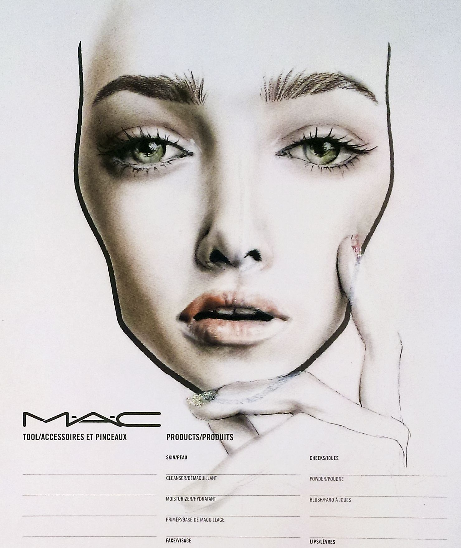 face chart all about the eyebrows MAC MAC face chart