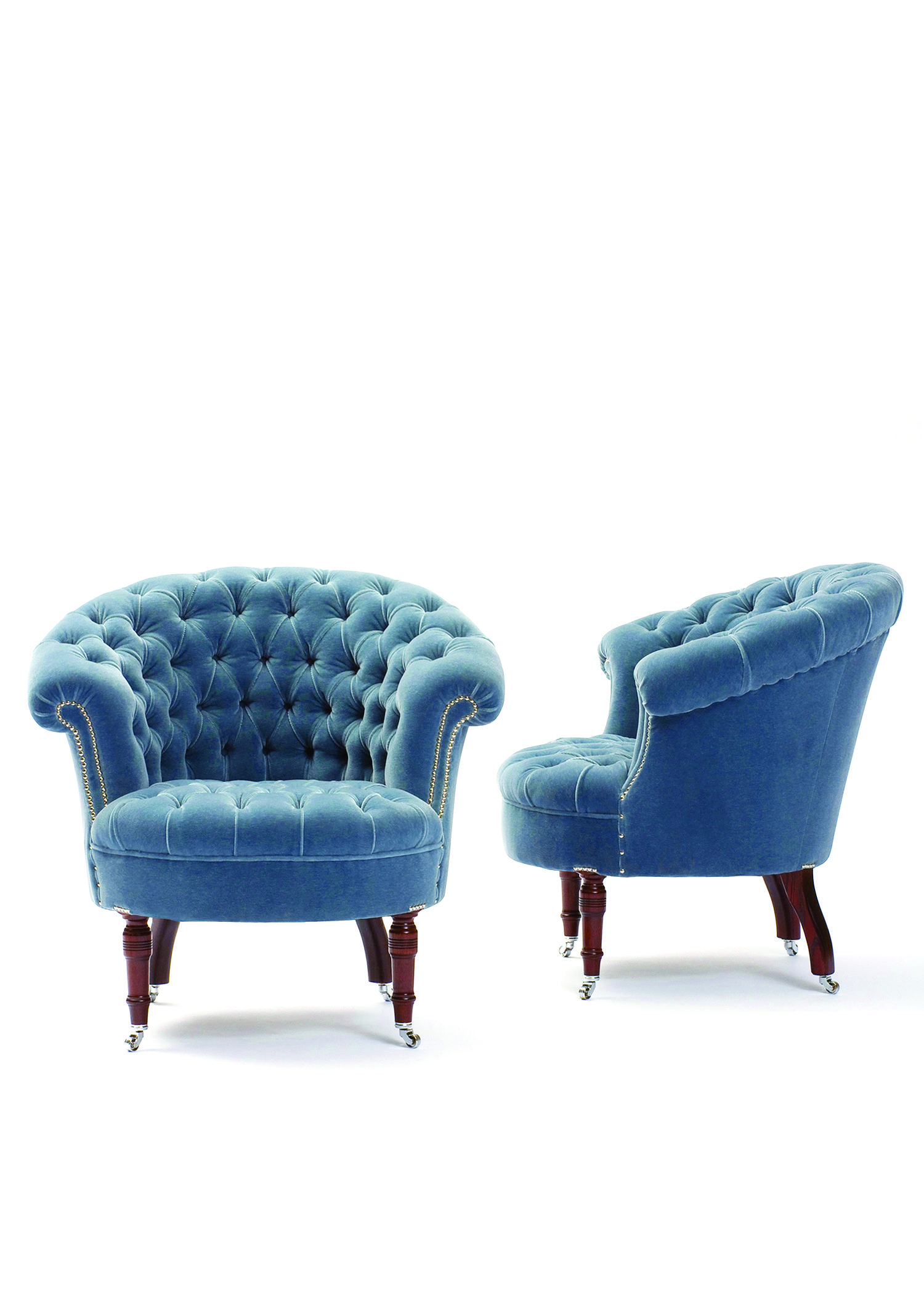 CLASSIC CHAIRS George Smith Airdrie Chair in French Blue Mohair
