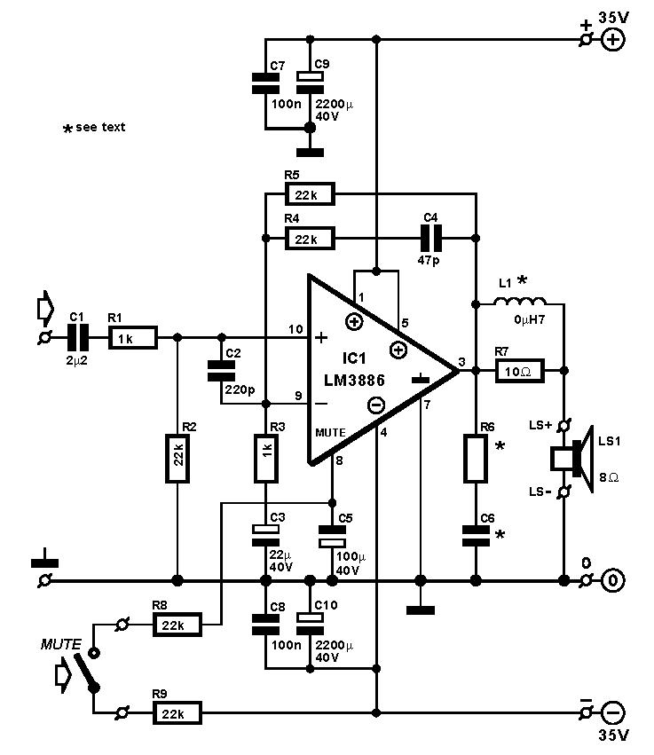 lm3886 audio amplifier 1 x 108w