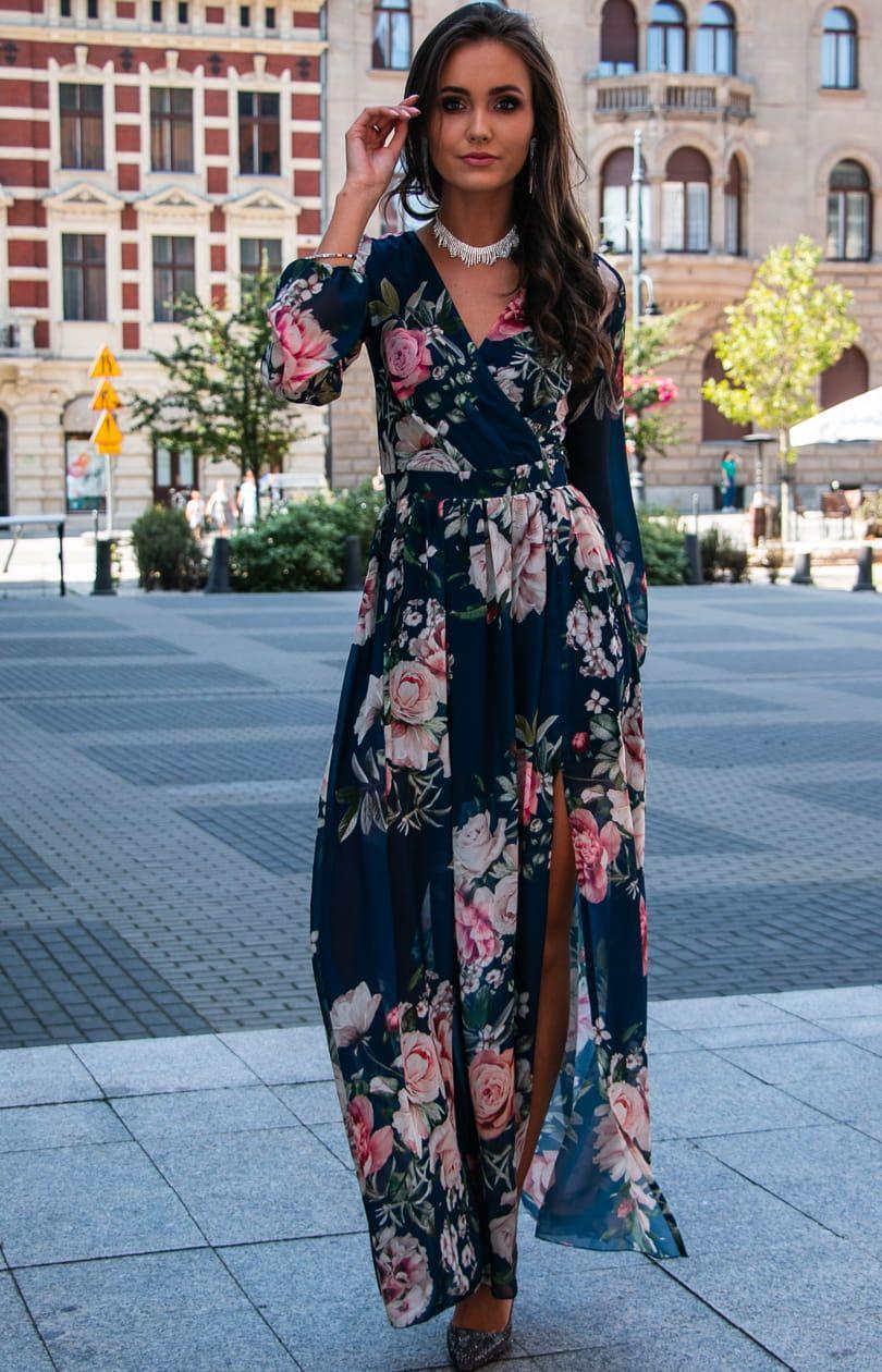 Dluga Sukienka W Kwiaty Roco 0219 D52 Maxi Dress India Fashion Outfits