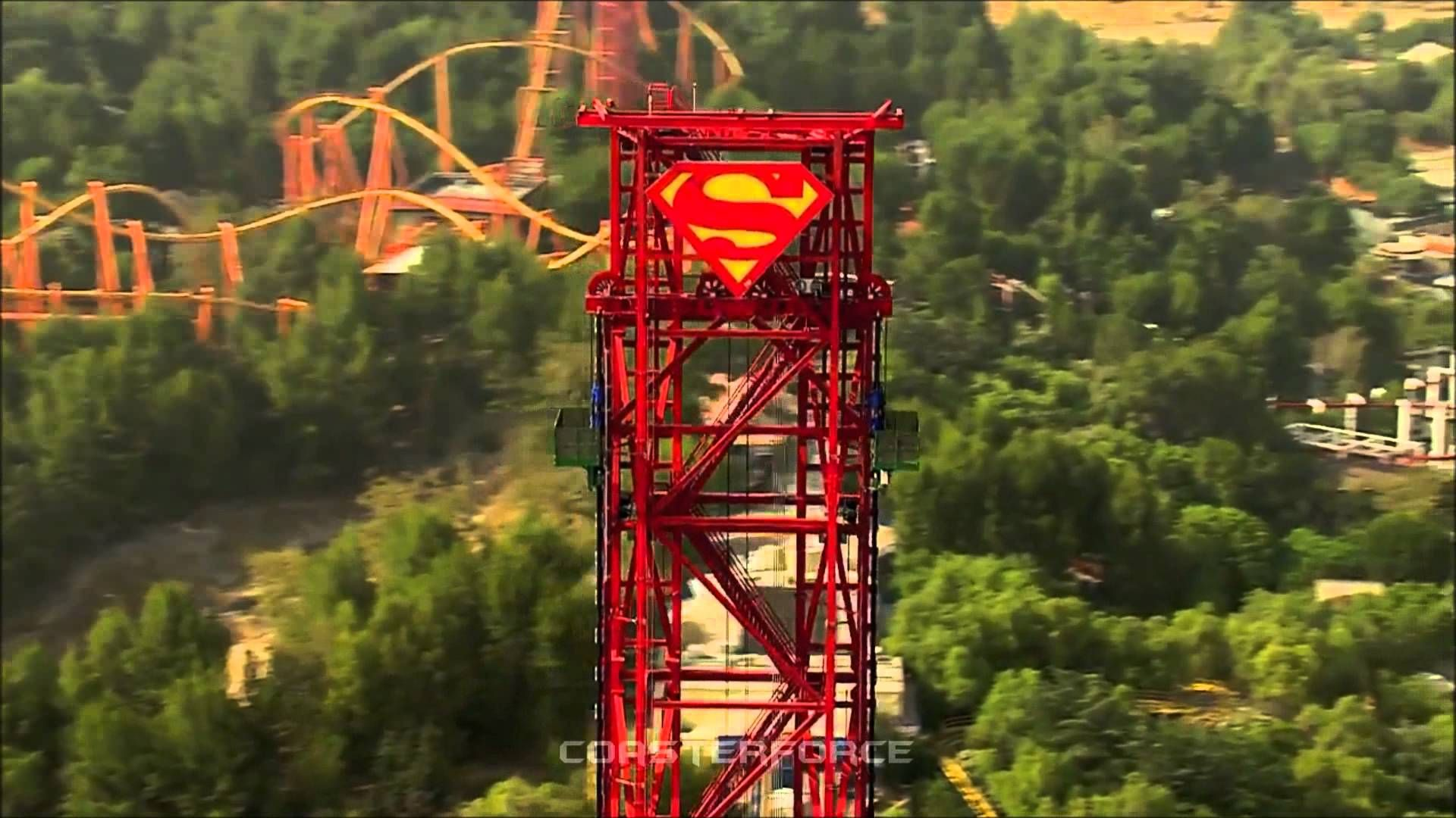 Lex Luthor Drop Of Doom On Ride Off Ride Hd B Roll Footage Six Flags Magic Mountain Six Flags Roller Coaster B Roll
