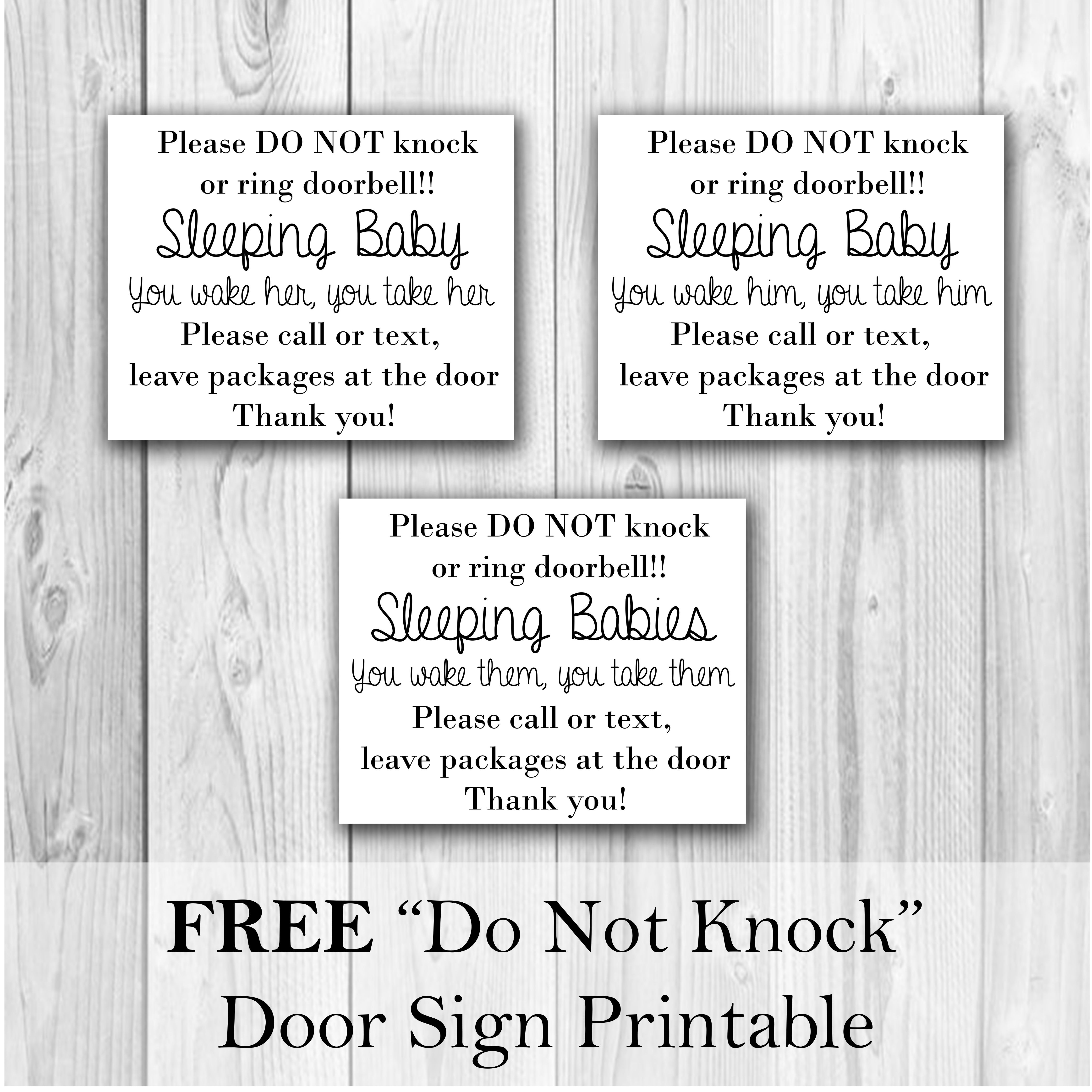 image about Baby Sleeping Sign Printable referred to as No cost \