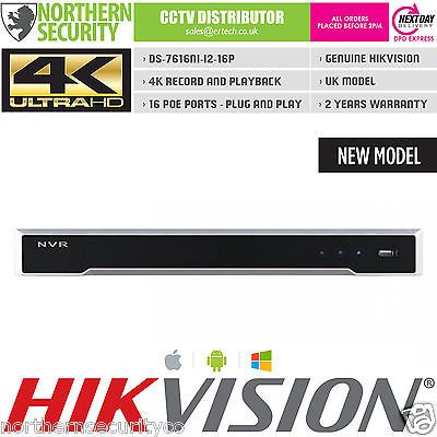 10TB 4K UHD 16 CH 16 POE H 265 12MP HIKVISION NVR ONVIF NETWORK
