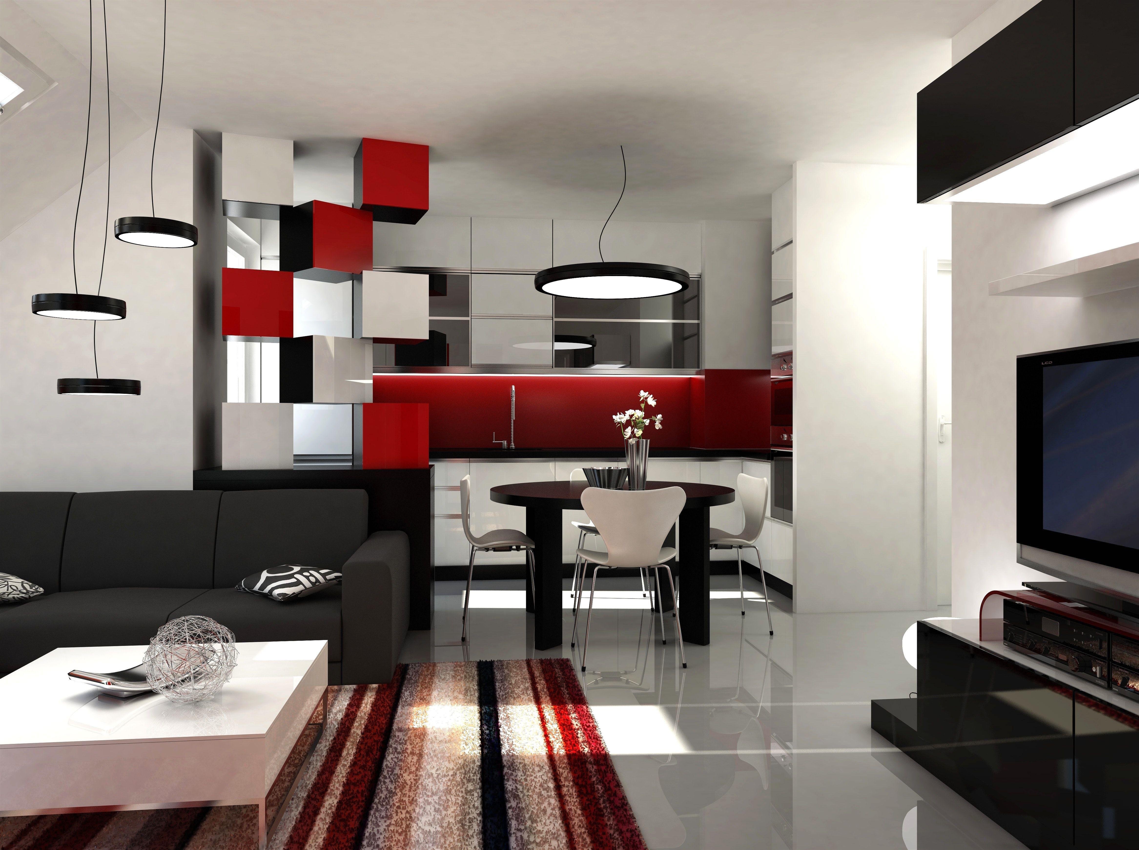 wohnzimmer in weiss und rot | living room tiles, white