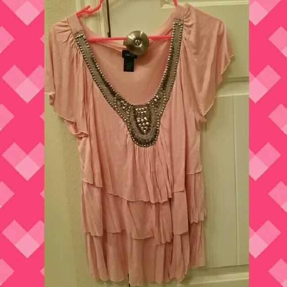 Rue21 shirt Flowy Rue21 Pink shirt with sequence and jewels. Perfect condion/Never worn. Price negotiable. Rue 21 Tops Blouses