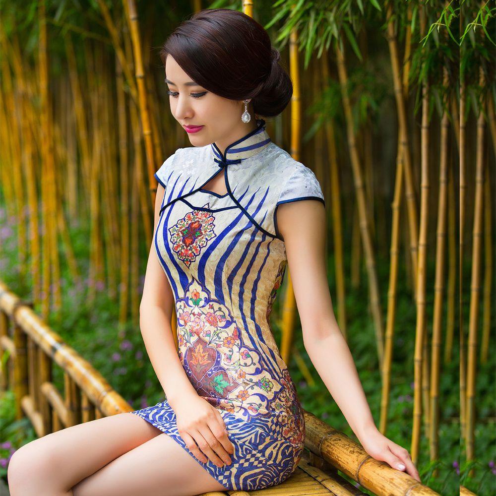 91e3493f0e2 Modern Enamel Print Short Qipao Cheongsam Dress - Qipao Cheongsam   Dresses  - Women
