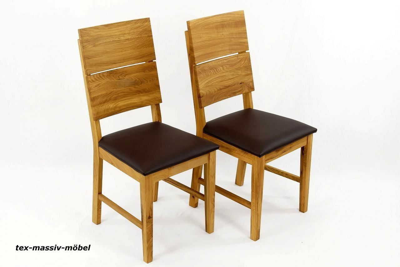 Esszimmerstühle Stühle 2er Massivholz Eiche Geölt -LEO- Leder/Braun ...
