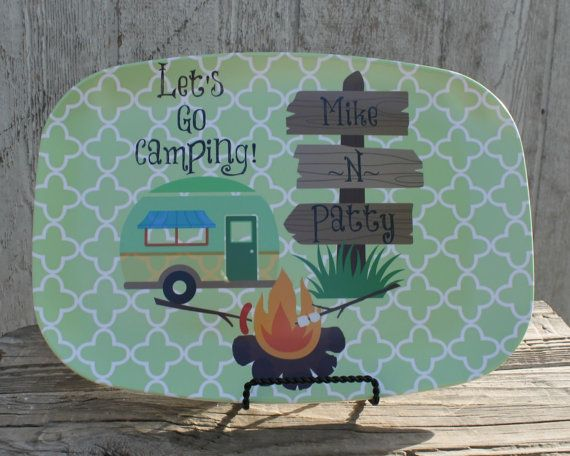 Camping, Camper, Camp, Personalized Platter,Serving Platter, Kitchen Decor, Home Decor, Vacation, Summer on Etsy, $25.00