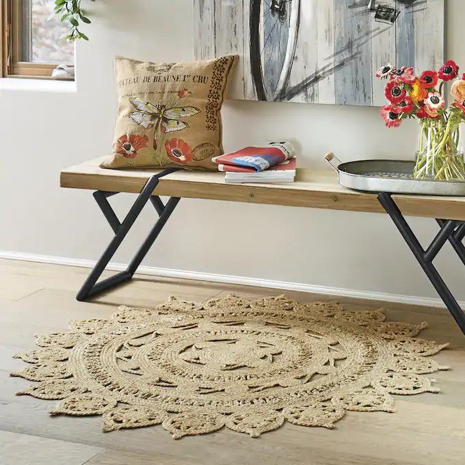 Jute 4' Round Rug Round rugs, Jute rug, Home design diy