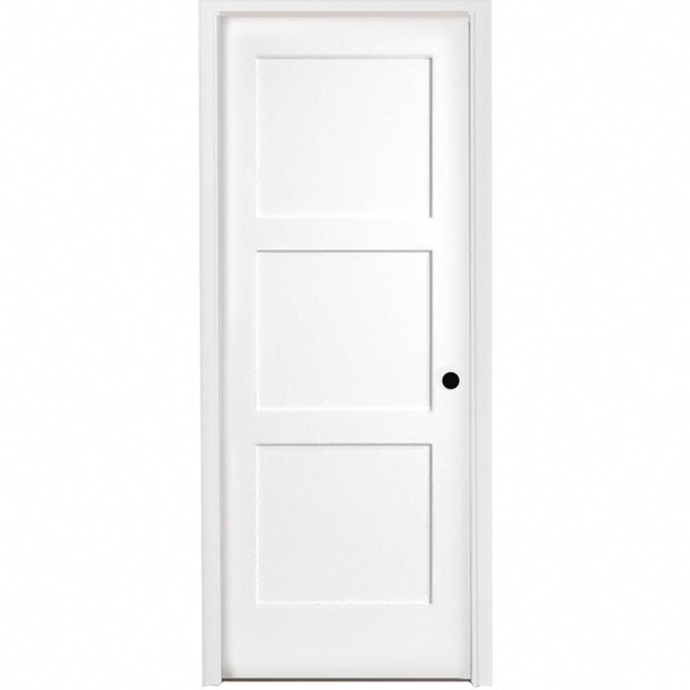 Steves Sons 28 In X 80 In 3 Panel Equal Shaker White Primed Lh Solid Core Wood Single Prehung Interior Door With Bronze Hinges L64m3nnnlelhb In 2020 Prehung Interior Doors Doors Interior